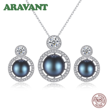 Freshwater Pearl Jewelry Sets For Women Fashion 925 Silver Pearls Necklace Stud Earring With CZ Stone Wedding Jewelry