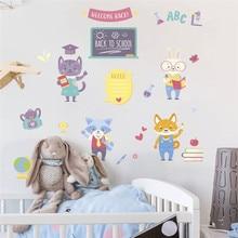 Cartoon wall sticker teacher student blackboard education school decoration children room decor все цены