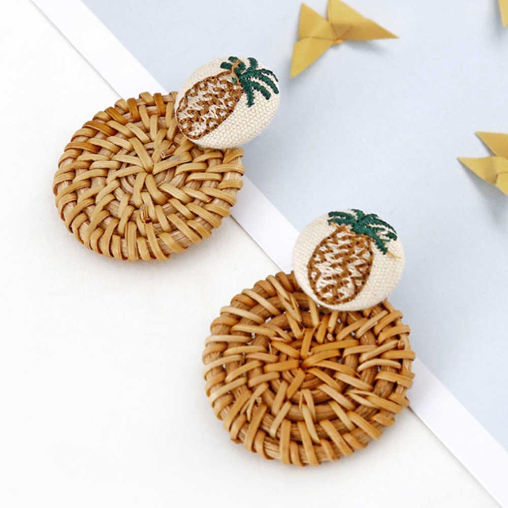Houten Stro Weave Knit Wijnstok Bloemen Ananas Oorbellen Voor Vrouwen Hollow Flora Afrikaanse Vrouw Houten Hanger Oorbellen Brincos