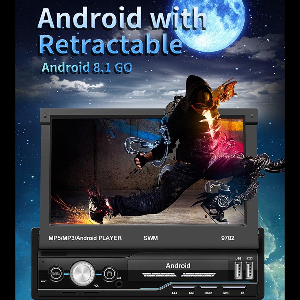Rádio do carro android 8.1 7 Polegada 1 din gps navegação wifi usb de carregamento hd tela sensível ao toque jogador do carro mp5 com câmera de visão traseira - 3