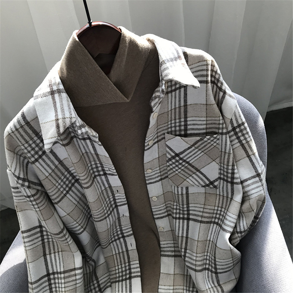 Spring Thick Loose cotton plaid Women blouses shirt 2020 female long sleeve Casual Warm women Blouse shirt office lady top Y0675 (29)