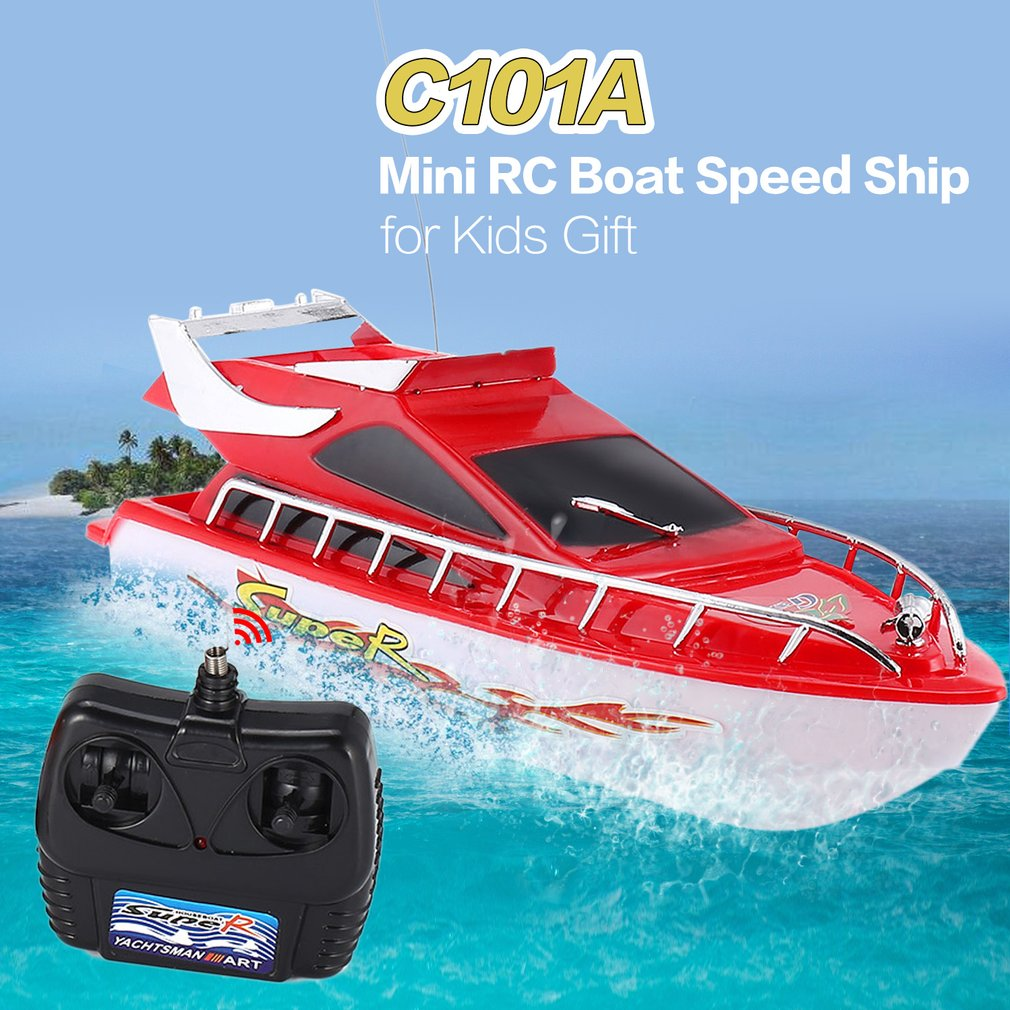 C101A RC Speedboat Super Mini Electric Remote Control High Speed Boat 4CH 20M Distance Ship RC Boat Game Toys Kids Birthday Gift
