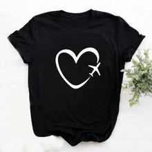 Travel Plane Heart Love Summer Women T shirt Cotton Tshirt Women Short Sleeve Femme T-shirts Black Graphic Tees Camisetas Mujer