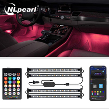 NLpearl Led Car Foot Ambient Light With USB Cigarette Lighter Music Control Multiple Modes Interior Atmosphere Decorative Lamp