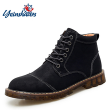 Men Boots Waterproof Rubber Ankle Lace-Up Split New-Fashion Warm Plush Sole Fur No YEINSHAARS