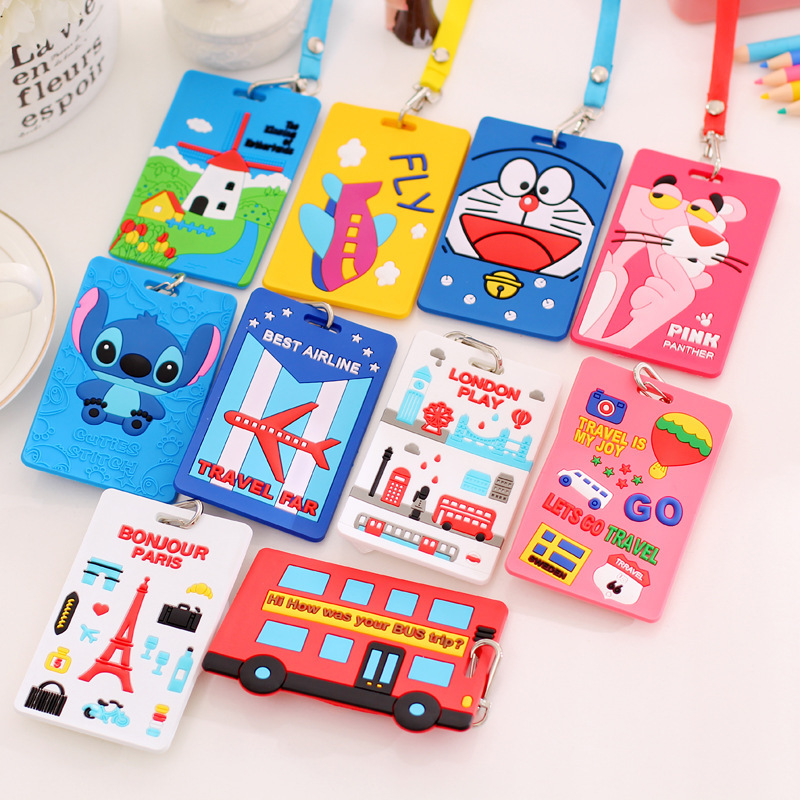 Super Cute Cartoon Car Animals Silicone Card Cover Bus Bank Id Card Case Holder With Rope