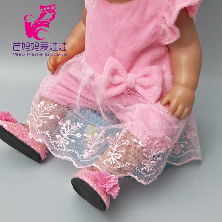 Одежда для куклы, платье, подходит для 43 см, розовое кружевное платье для маленькой куклы, комплект одежды со штанами для 18 дюймов, 40 см, 45 см, комплект одежды для куклы для девочки