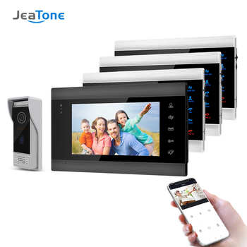 Jeatone 7 Inch Wireless Wifi Smart IP Video Door Phone Intercom System with 4 Night Vision Monitor + 1 Rainproof Doorbell Camera yobangsecurity 7 inch wired doorbell door video phone intercom 1 camera 1 monitor night vision with electronic lock rfid keyfobs