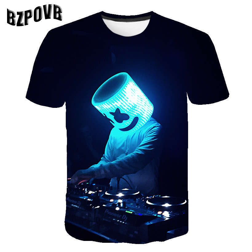 2019 new marshmallow fashion personality 3D printing T-shirt men's casual breathable T-shirt men's O-neck short-sleeved T shirt