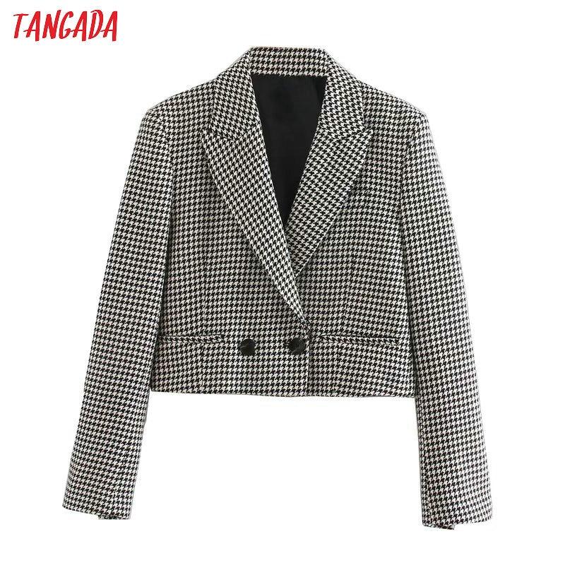 Tangada Women Vintage Plaid Cropped Blazer Female Long Sleeve Elegant Jacket Ladies High Street Blazer Suits 5Z15