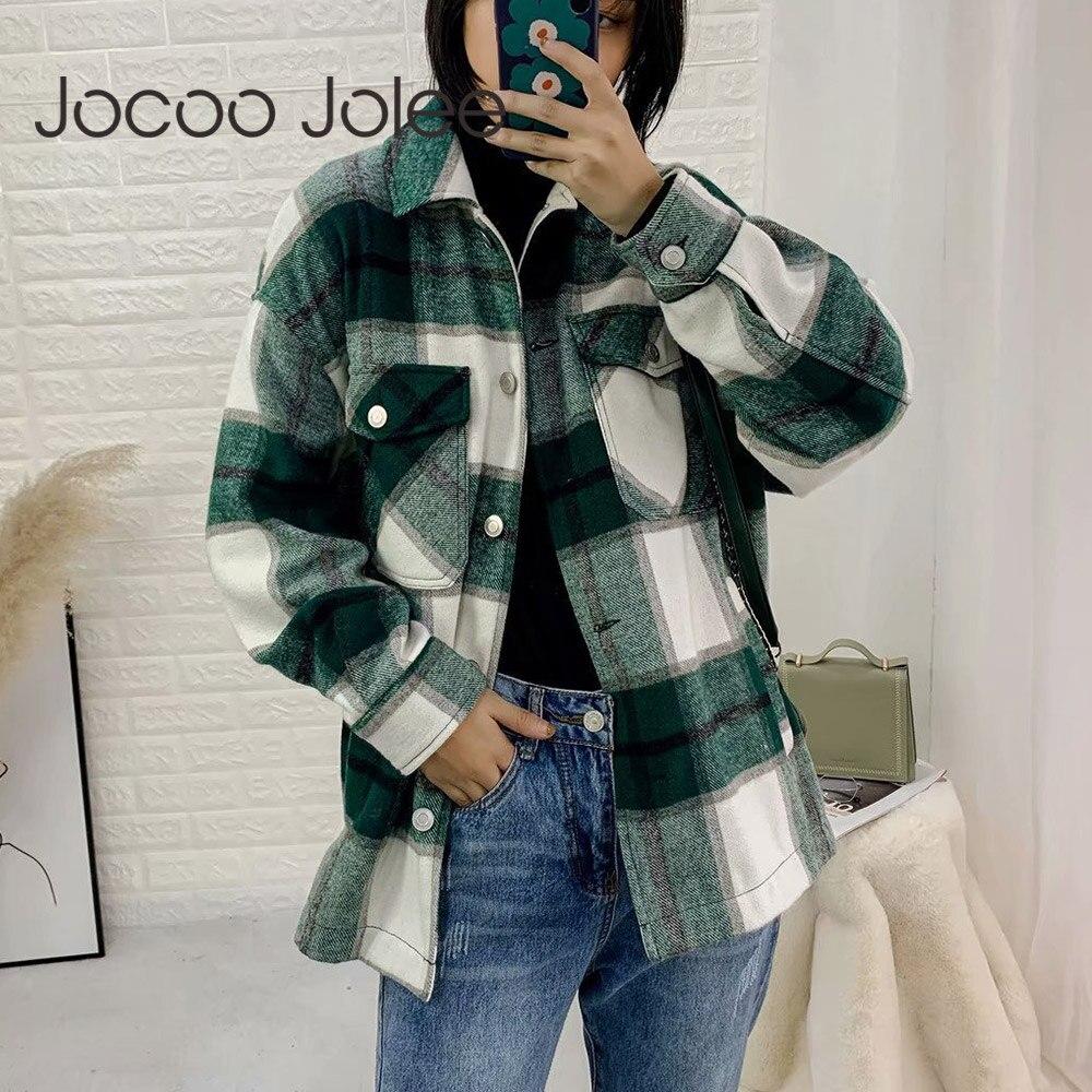 Jocoo Jolee Vintage Stylish Pockets Oversized Plaid Jacket Coat Women Fashion Lapel Collar Long Sleeve Loose Outerwear Chic Tops
