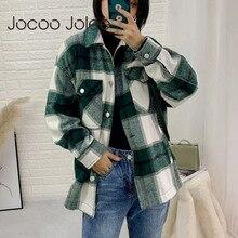Jocoo Jolee Vintage Stylish Pockets Oversized Plaid Jacket Coat Women Fashion La