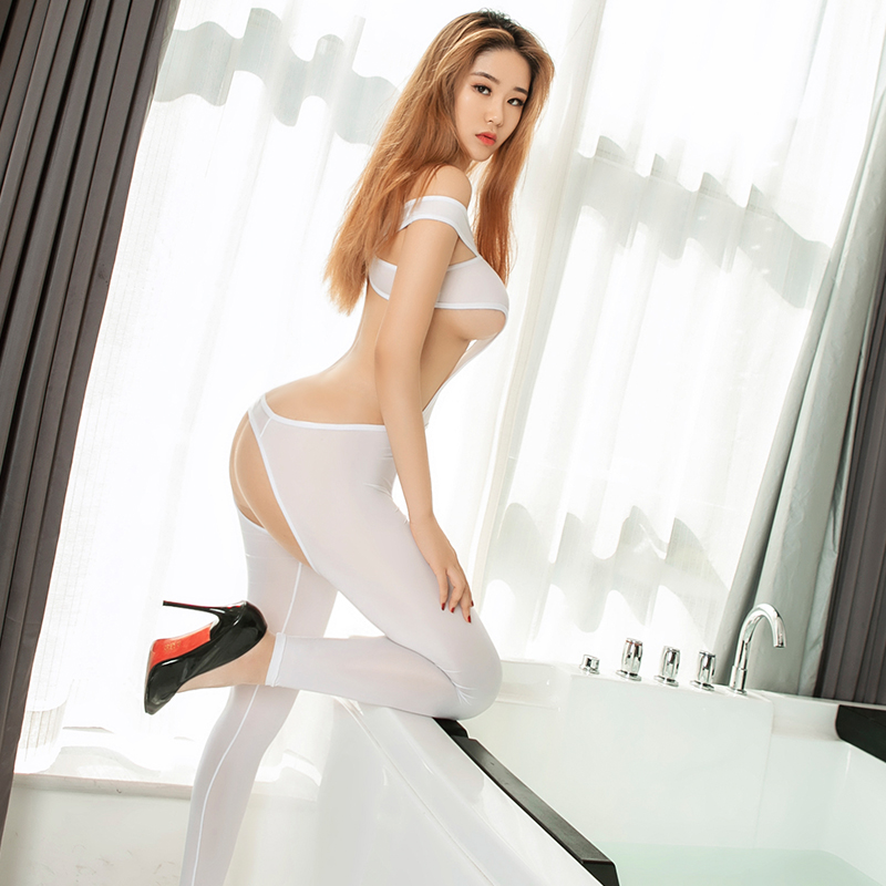 Hight Elastic Nightclub Sex Party Costumes Sexy Open Crotch Bodysuits See through Backless Jumpsuits Women Super Thin Bodysuit