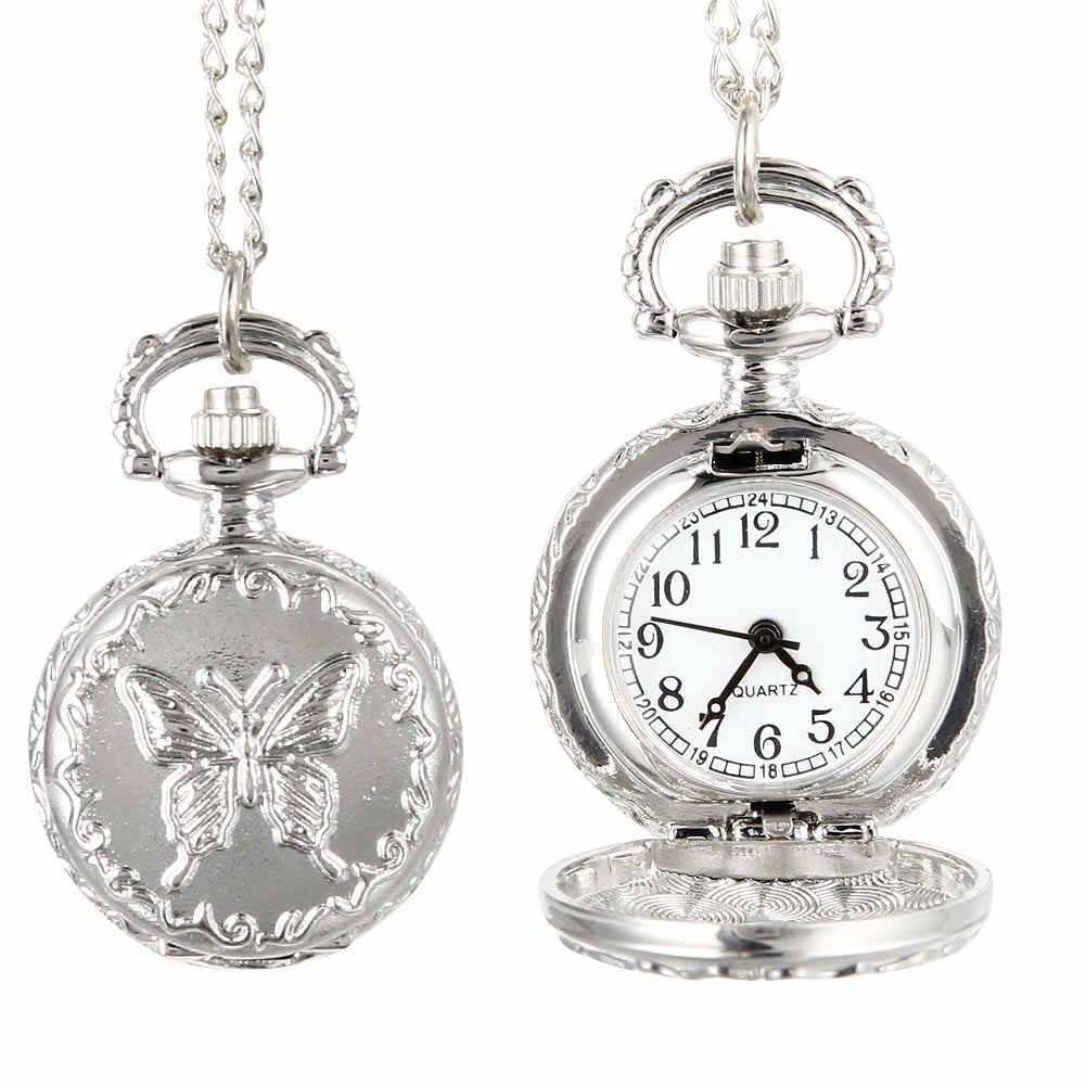 Модные Винтажные кварцевые карманные часы, сплав, цветы, Бабочка, для женщин, девушек, ожерелье, подвеска, свитер, цепь, часы, подарки SER88