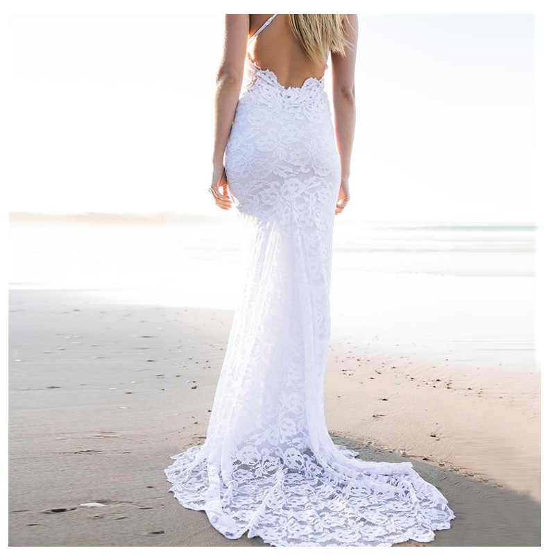 Eightree สปาเก็ตตี้สายรัดลูกไม้ชุดแต่งงาน 2019 ง่าย Mermaid Beach ชุดเจ้าสาวเซ็กซี่ Fairy สีขาวที่กำหนดเอง Gowns แต่งงาน