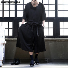 Casual Men Suits Tops Leg-Pants T-Shirt Men-Sets Streetwear 2pieces INCERUN Wide V-Neck