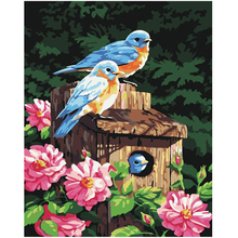WONZOM Birds Family Flowers Painting by numbers,Modular canvas pictures,DIY paint numbers for kids&adults 40x50cm