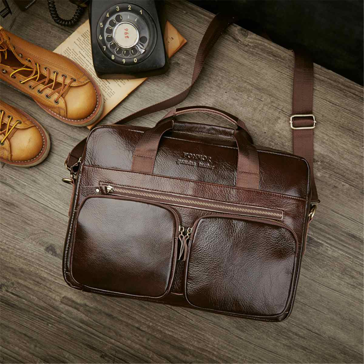 Men's Genuine Leather Briefcase Vintage Male Laptop Bag Natural Cowhide Leather For Men Messenger Bags Men's Briefcases 2019