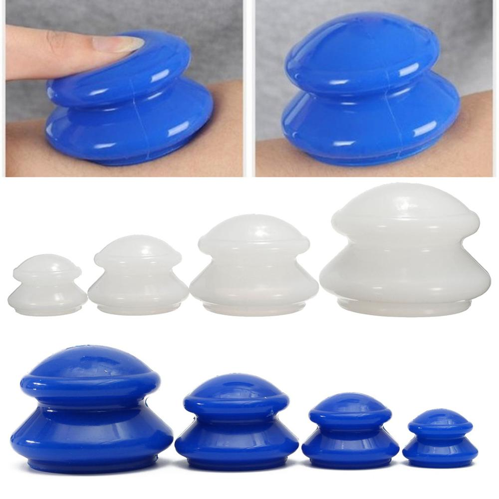 4Pcs Silicone Massage Cupping Set Anti Cellulite Vacuum Cup Massager Chinese Vacuum Cupping Therapy Suction Facial Body Cupping