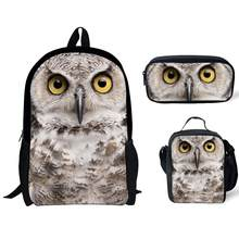 Cute Owl 3D Printing School Bags For Kids Boys Girls 3pc/Set Primary Schoolbag Children Shoulder Bagpack Teenagers Large Satchel(China)