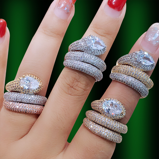 GODKI Luxury 3 Layers Twist Snakel Rings with Zirconia Stones 2020 Women Engagement Party Jewelry High Quality