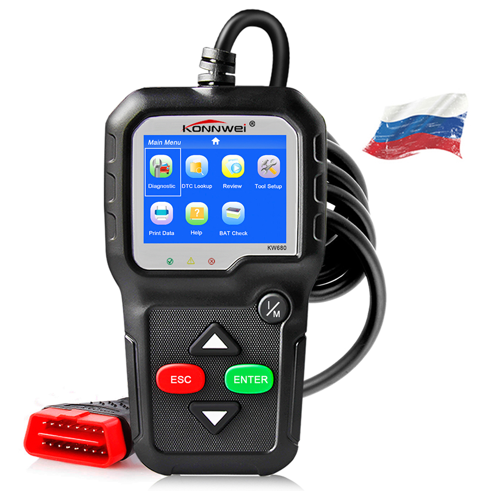KONNWEI KW680s ODB2 Automotive Scanner Engine Fault Code Reader Car Diagnostic Tool ODB2 Better AD410 Scan Tool Obd2 Autoscanner