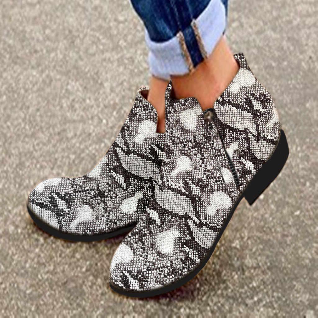 พิมพ์งู Pu ผู้หญิงข้อเท้ารองเท้า Zip Pointed Toe รองเท้าหนารองเท้าส้นสูงหญิงรองเท้าผู้หญิง 2020 snakeskin Bootie # N3