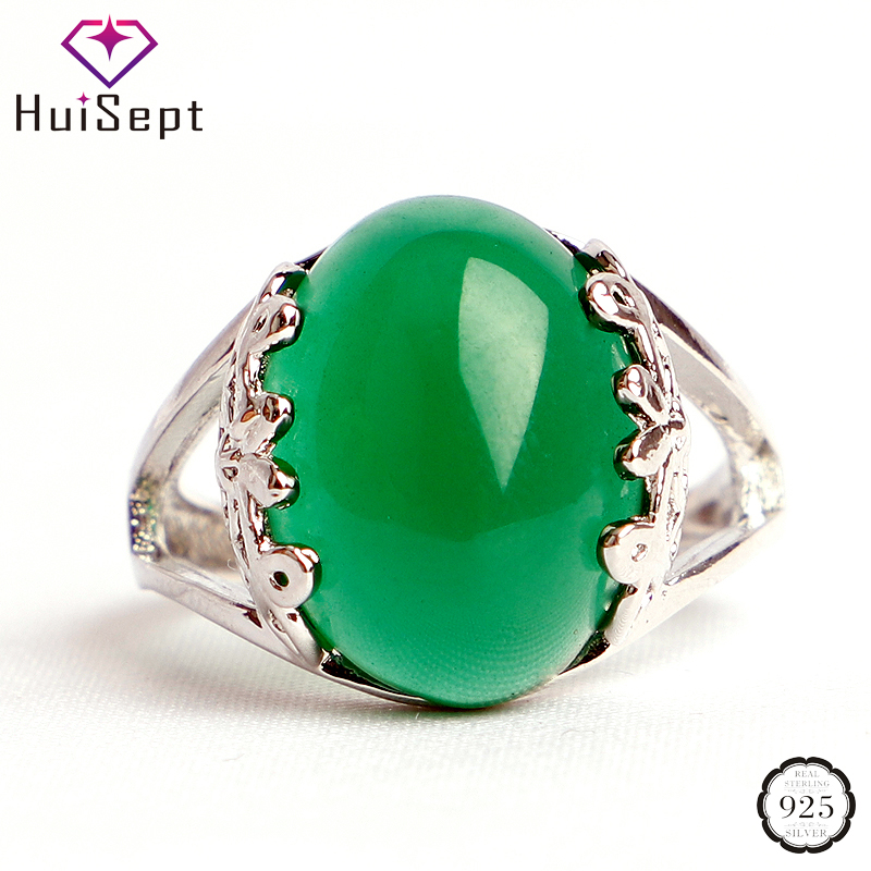 HuiSept Vintage Rings 925 Silver Jewelry Oval Shaped Emerald Ruby Gemstones Open Ring for Female Weddings Party Gifts Adjustable