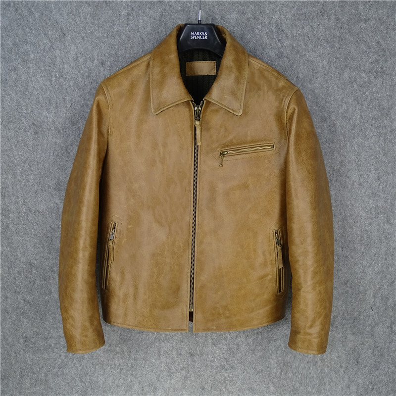 Free Shipping.1.2mm Thick Cowhide Coat,man Vintage Genuine Leather Jacket,classic 1930s Style Biker Jackets,brown Sales