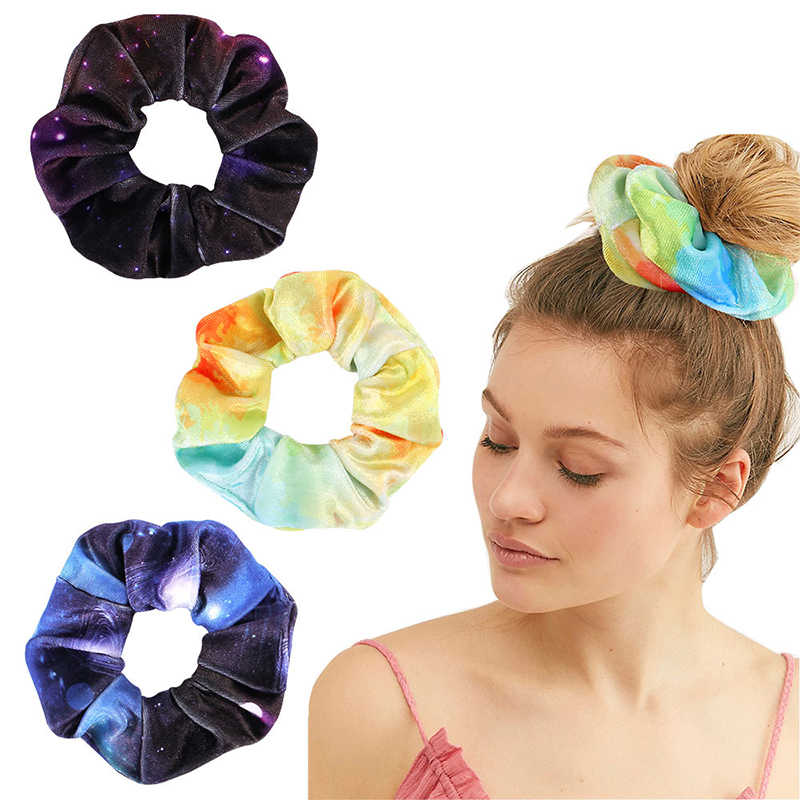 Women Starry Sky Print Velvet Hair Scrunchies Elastic Hair Bands Colorful Scrunchie Ponytail Holder Girls Hair Ties Accessories