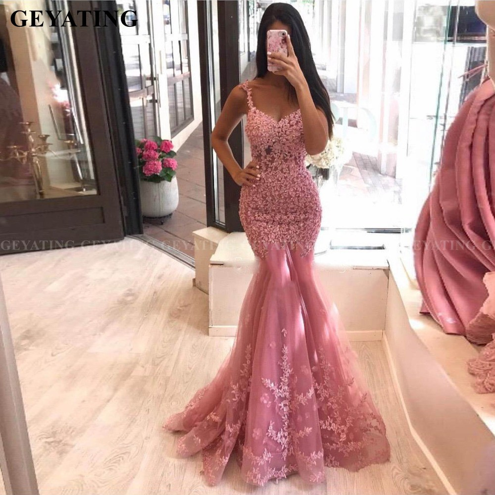 Sexy Spaghetti Straps Pink Lace Mermaid Evening Dress 2020 Elegant Women Long Formal Dresses Silver Gray Beaded Prom Party Dress