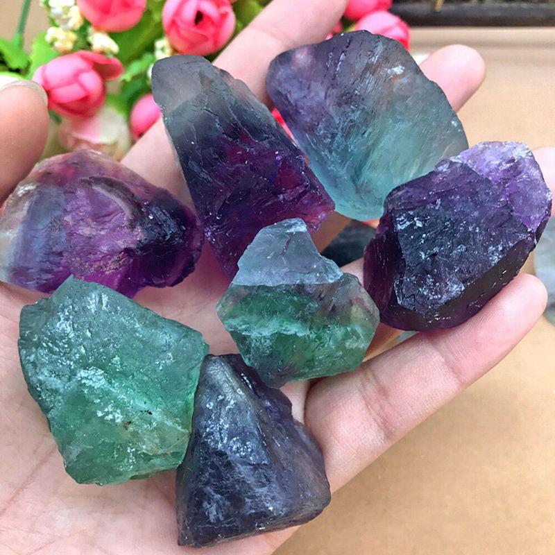 Wholesale Lots Bulk 1Pc Colorful Natural Stone Fluorite Quartz Crystal Stones Rough Polished Gravel Specimen Stone Collection