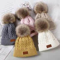 Gorro con pompón para bebé recién nacido, sombrero de punto abrigado, Color sólido, Otoño e Invierno