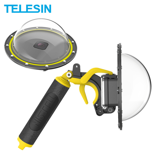 TELESIN Dome Port 30Mกันน้ำฝาครอบกรณี6 HandleสำหรับGoPro Hero 8กล้องอุปกรณ์เสริม