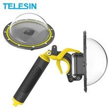 TELESIN Dome Port 30M su geçirmez dalış kapak konut Case 6 yüzen kolu tetik GoPro Hero 8 kamera aksesuarları