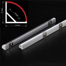 DHL50pcs/lot 0.5m/pcs 45 degree angle aluminum profile for 5050 3528 5630 LED strips Milky white/transparent cover strip channel