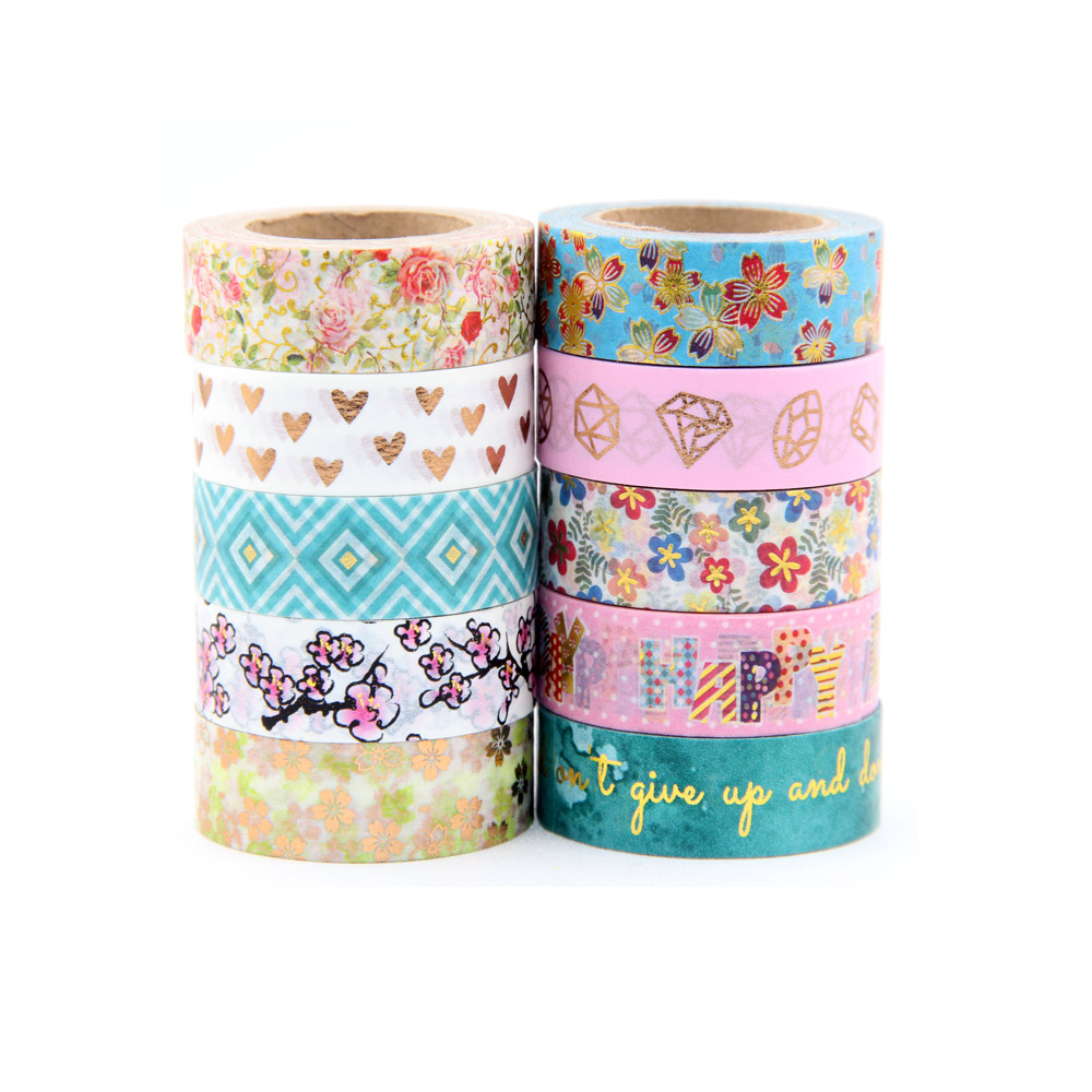 NEW 1X 10m Foil Washi Tape Scrapbooking Tools Cute Decorative Cinta Adhesiva Decorativa Japanese Stationery Washi Tapes Mask