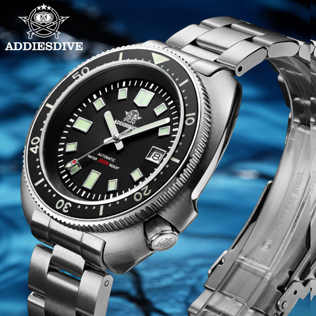 1970 Abalone Dive Watch 200m Sapphire crystal calendar NH35 Automatic Mechanical Steel diving Men's watch 1
