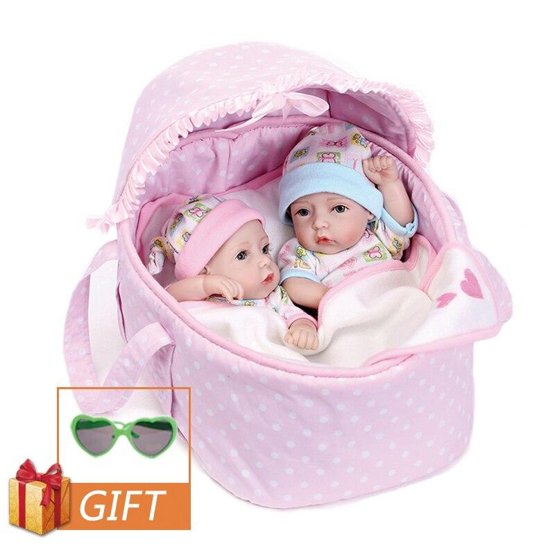 NPK 28cm Reborn bébé Silicone poupées jumeaux poupée réaliste bébé Reborn tout-petits Simulation douce bébé poupée jouets cadeaux pour enfants