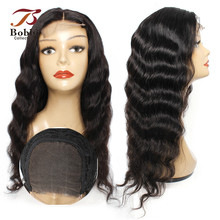Wig Human-Hair Deep-Wave Lace Closure Natural-Black Pre-Plucked 150%Density 4x4 Bobbi-Collection