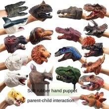 Gloves Hand-Puppet for Children Model-Gift Dinosaur Figure-Toys Animal-Head Rubber Vinyl