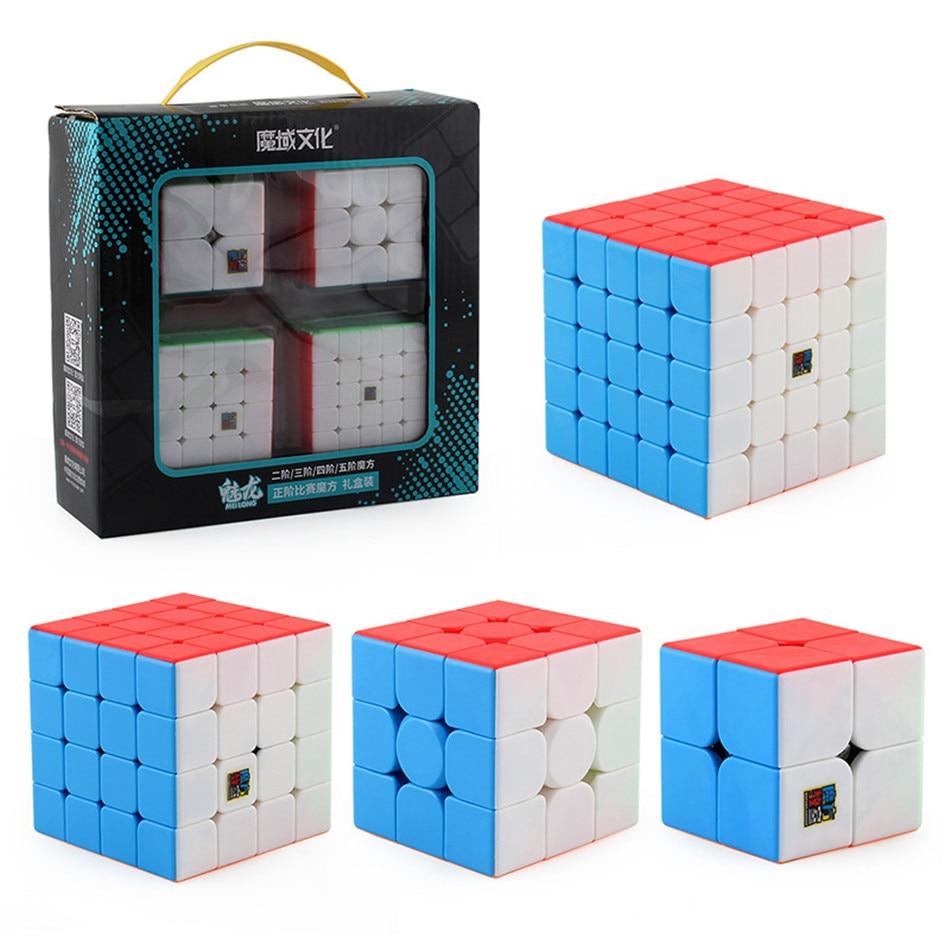 4pcs Conjunto Cubo Moyu Velocidade MofangJiaoshi 2x2 3x3 4x4 5x5 Meilong inclinação de pirâmide Cubo mágico Megaminx SQ1 Embalagem Brinquedos Educativos