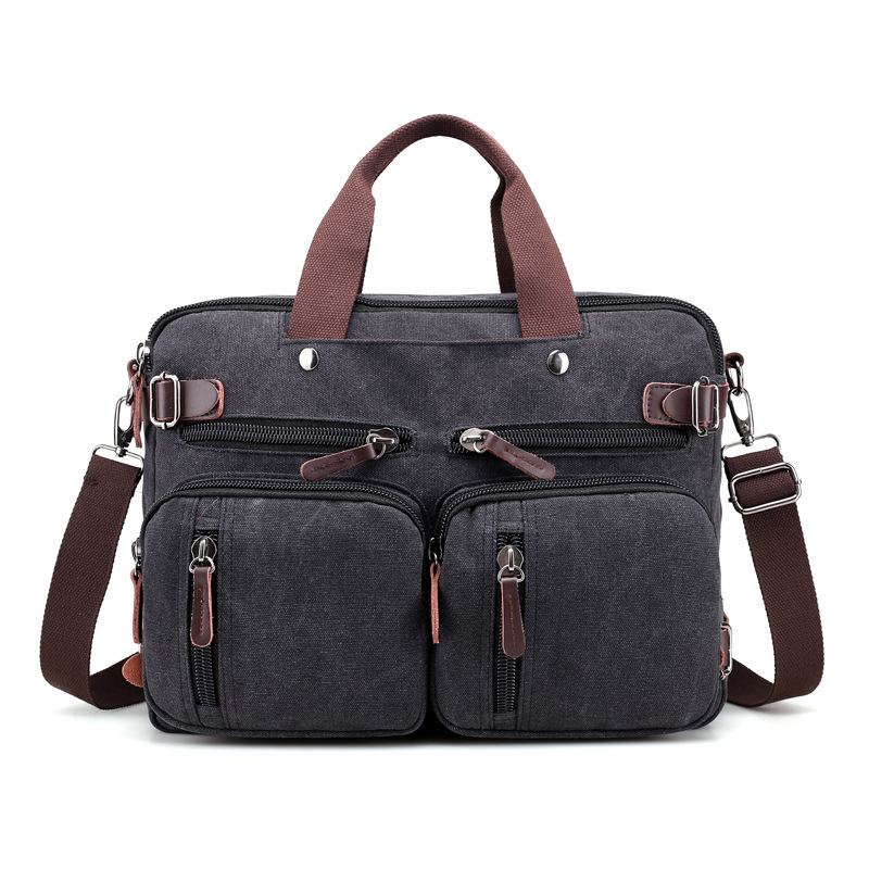 1PCS Canvas Men's Bag Large Capacity Hand Bill Of Lading Shoulder Messenger Bag New Large Capacity Travel Backpack