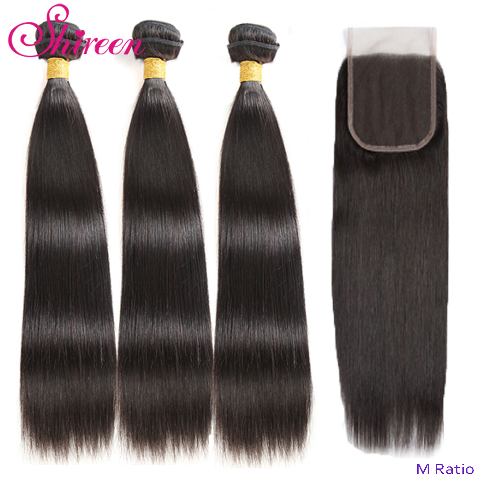 Shireen Straight Hair Bundles With Closure Peruvian Hair Weave 3 Bundles With Closure Remy 100% Human Hair Extension
