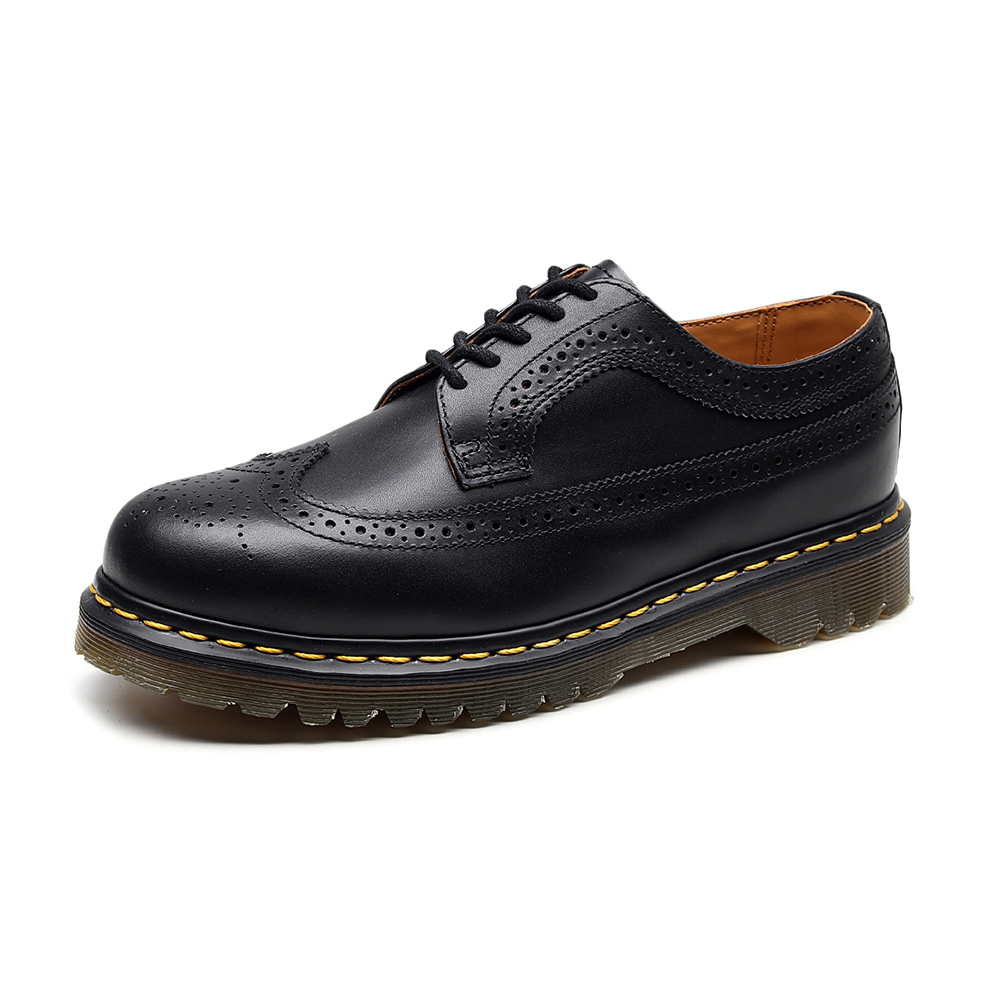 Men Couple Shoes Genuine Leather Round Toe Flats Heel Embroidered Brogue Boots Plus Size Dr Classic British Style Martins Boots