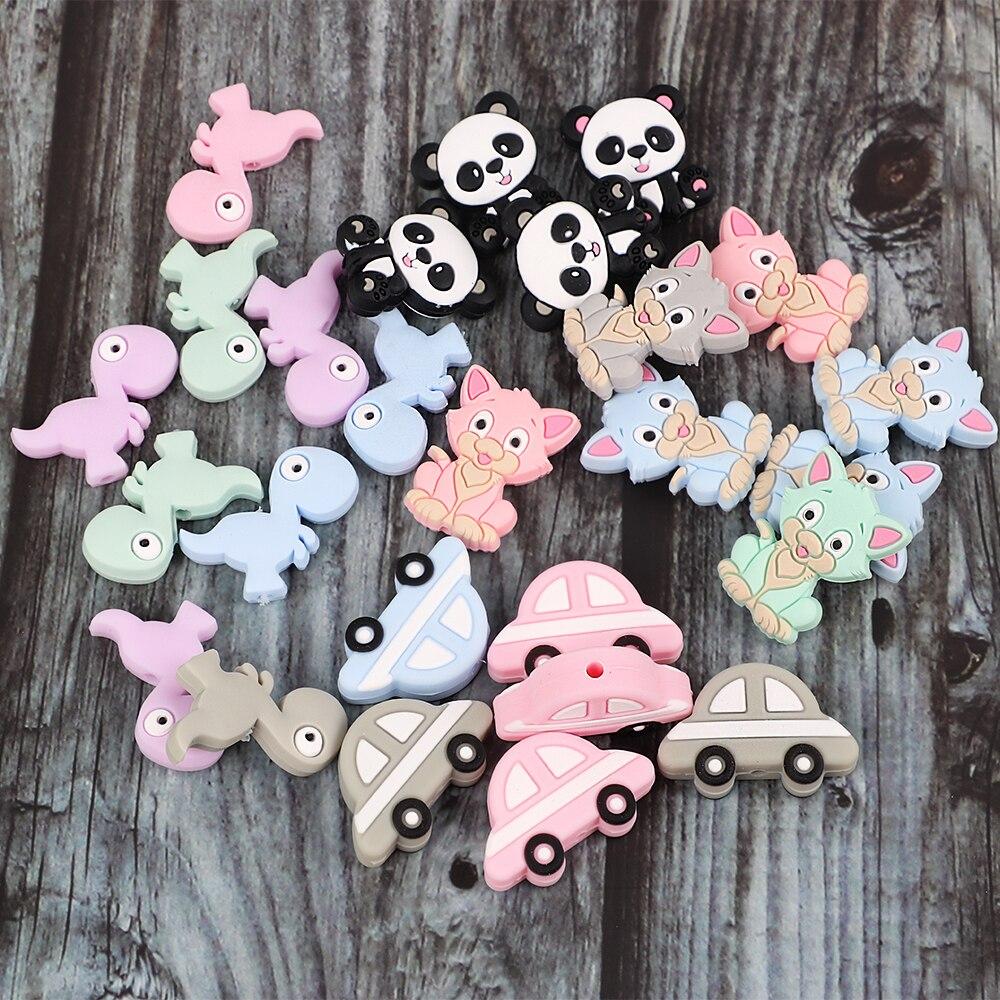 10pc Food Grade Silicone Beads Cartoon Baby Teething Chews Nurse Gift Toys Koala Cat Car DIY Necklace Chain Baby Teether Beads