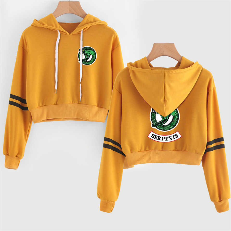 New print Riverdale hoodie sweatshirts Short Sexy Hoodies Fashion Crop Top Shirt Pullover long sleeve Clothing