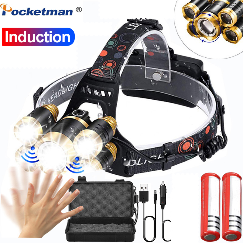 Ultra Bright Led Headlamp Zoom Headlight 5 LED T6 Head Torch Flashlight Waterproof Fishing 18650 Head Lamp Hunting