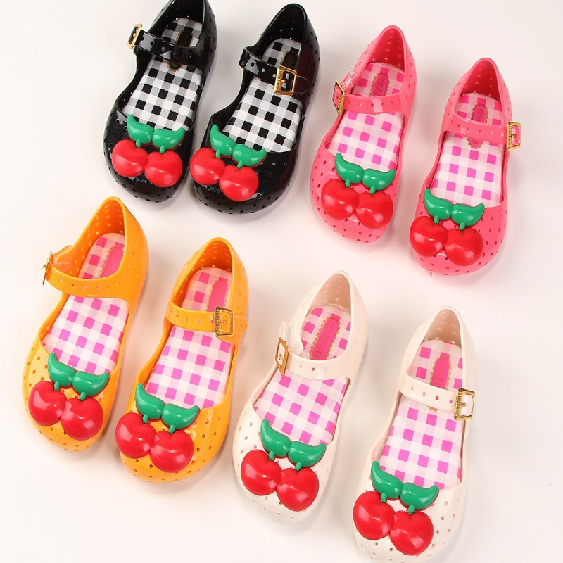 Mini Melissa Kids Girl Shoes Baby Cute Cherry Jelly Sandals Fashion Children's Princess Candy Sandals Beach Shoes MN014