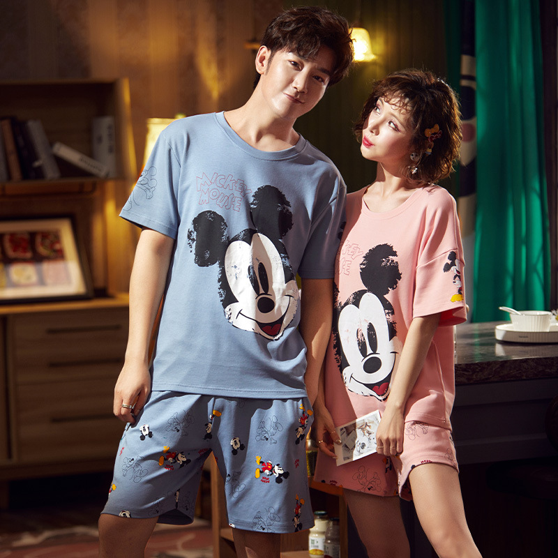 Summer Women Couples Pajamas Night Sleepwear Cotton Mouse Nightgown Pajama Sets Lady Homewear Gril Clothing Home Clothes XXXL